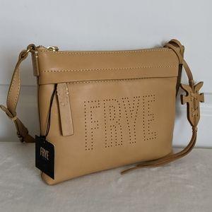 Frye Leather Perforated Logo Crossbody Camel 🆕